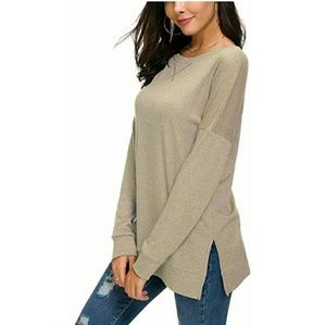 Tops - Womens Fall Long Sleeve Side Split Pullover Top